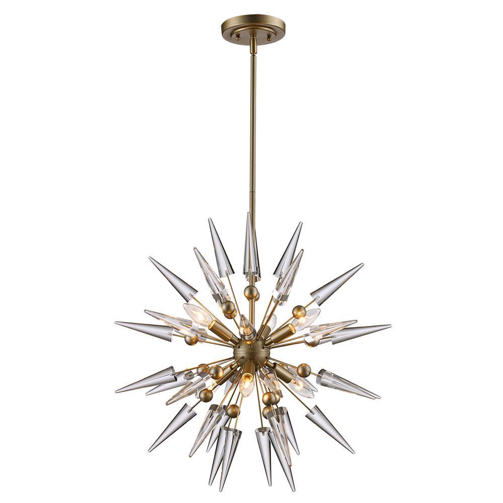 Bel air lighting 6lt pendant antique silver leaf cone starburst