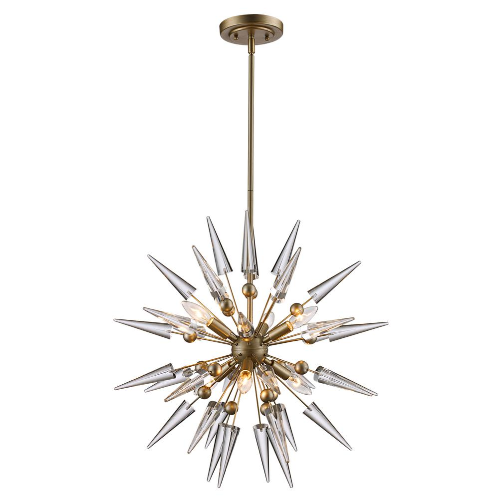 Bel Air Lighting 6LT Pendant Antique Silver Leaf Cone