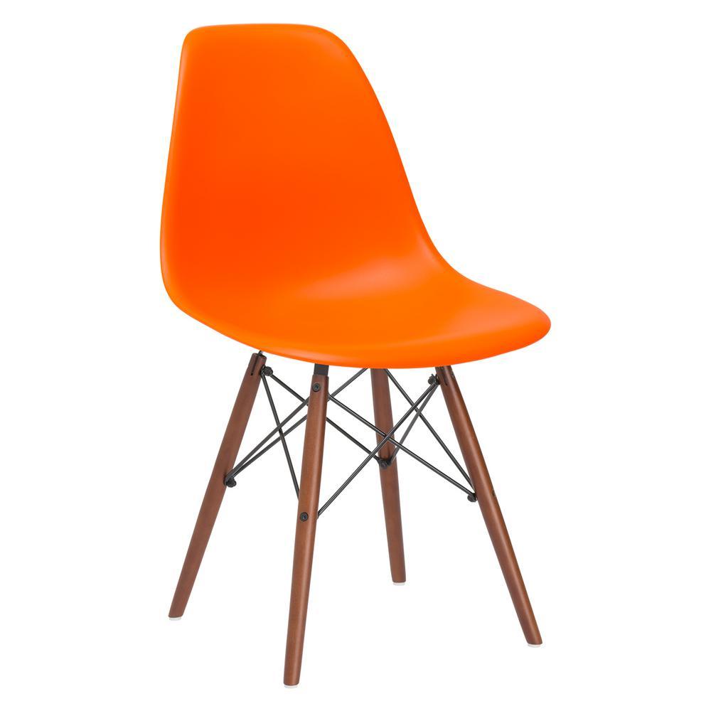Vortex Orange Side Chair with Walnut Legs