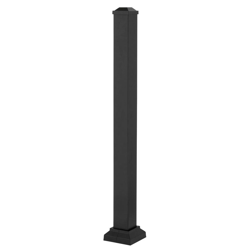 3 in. x 3 in. x 42 in. Black Powder Coated Aluminum Deck Post Kit