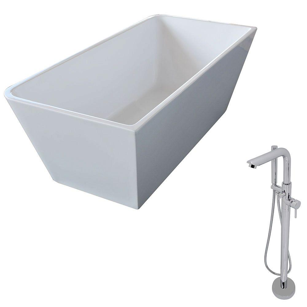 Majanel 5.6 ft. Acrylic Classic Freestanding Flatbottom Non-Whirlpool Bathtub in