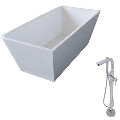 Majanel 5.6 ft. Acrylic Classic Freestanding Flatbottom Non-Whirlpool Bathtub in White and Sens Faucet in Chrome