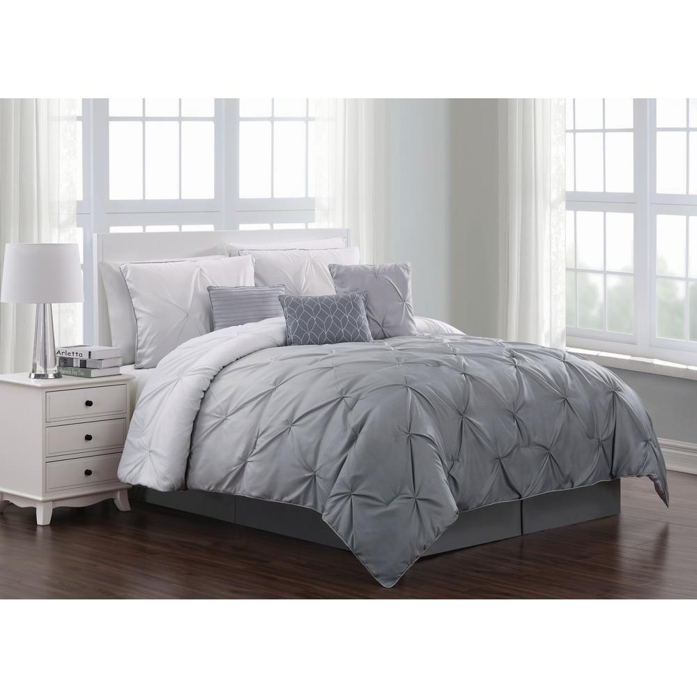 Bergen 7 Piece Grey Queen Comforter Set Brg7csquenghgy The Home