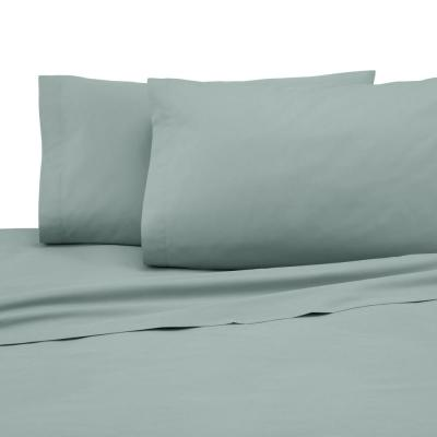 3-Piece Sage Solid 225 Thread Count Cotton Blend Twin Sheet Set
