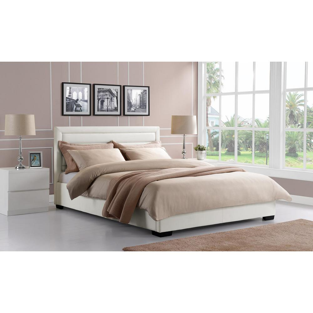 Manhattan Premium Faux Leather Queen Size Bed Frame in White. DHP Modern Canopy Metal Queen Size Bed Frame in Gunmetal Grey