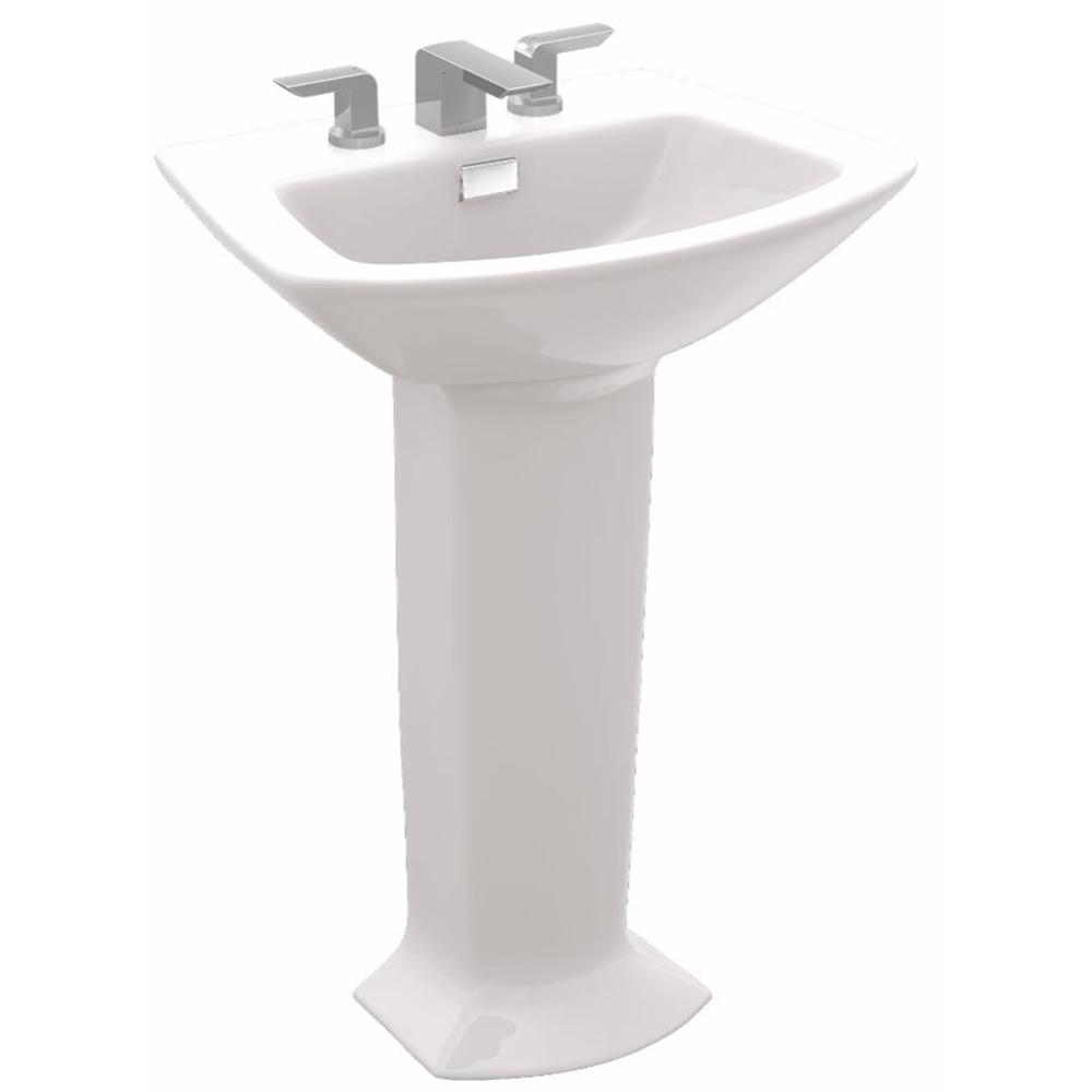 TOTO Soiree 25 in. Pedestal Combo Bathroom Sink with 8 in. Faucet Holes in Cotton White