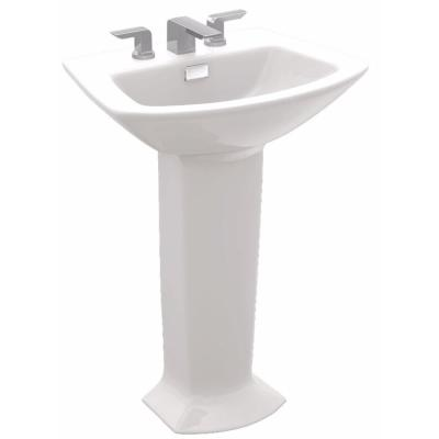 Soiree 25 in. Pedestal Combo Bathroom Sink with 8 in. Faucet Holes in Cotton White