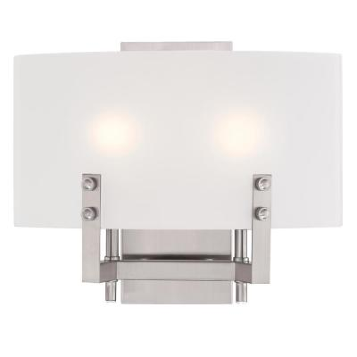 Enzo James 2-Light Brushed Nickel Wall Mount Bath Light