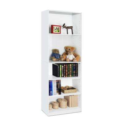 JAYA 5-Shelf White Open Bookcase