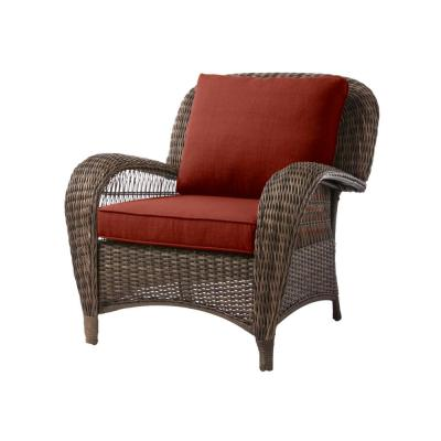 Beacon Park Brown Wicker Outdoor Patio Stationary Lounge Chair with Sunbrella Henna Red Cushions