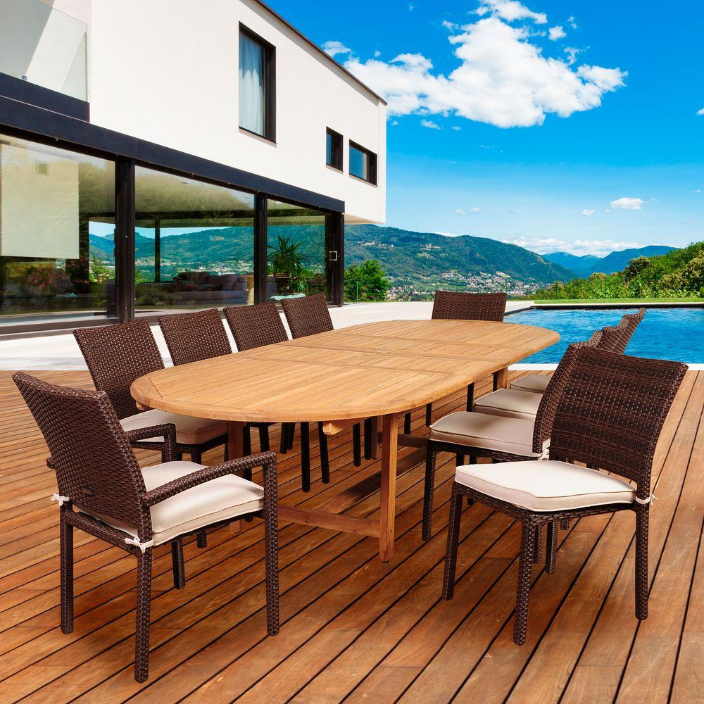 Amazonia Chives 10-Piece Teak/Wicker Double Extendable Oval Patio Dining Set with Off-White Cushions