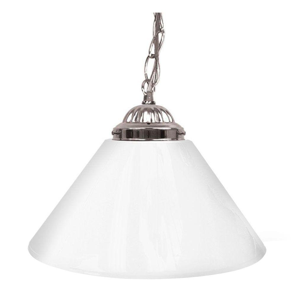 14 In. Single Shade White And Silver Hanging Lamp Global