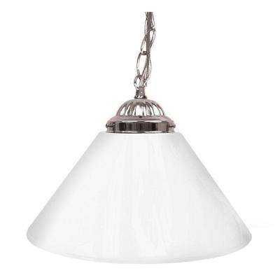 14 In. Single Shade White And Silver Hanging Lamp