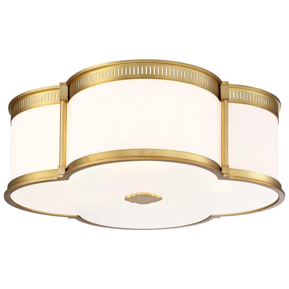 150-Watt Equivalence Liberty Gold Integrated LED Ceiling Flushmount