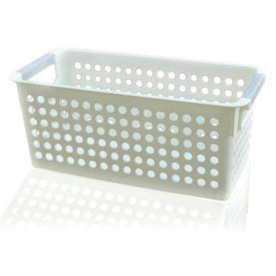 11.5 in. W x 5.35 in. D x 5 in. H White Rectangular Plastic Shelf Organizer Basket with Handles