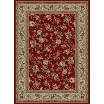 Ankara Floral Garden Red 7 ft. 10 in. x 10 ft. 10 in. Area Rug