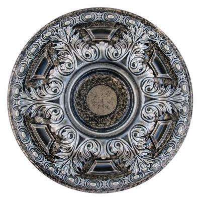 23-5/8 in. Bright Night, Silver and Warm Silver Polyurethane Hand Painted Ceiling Medallion