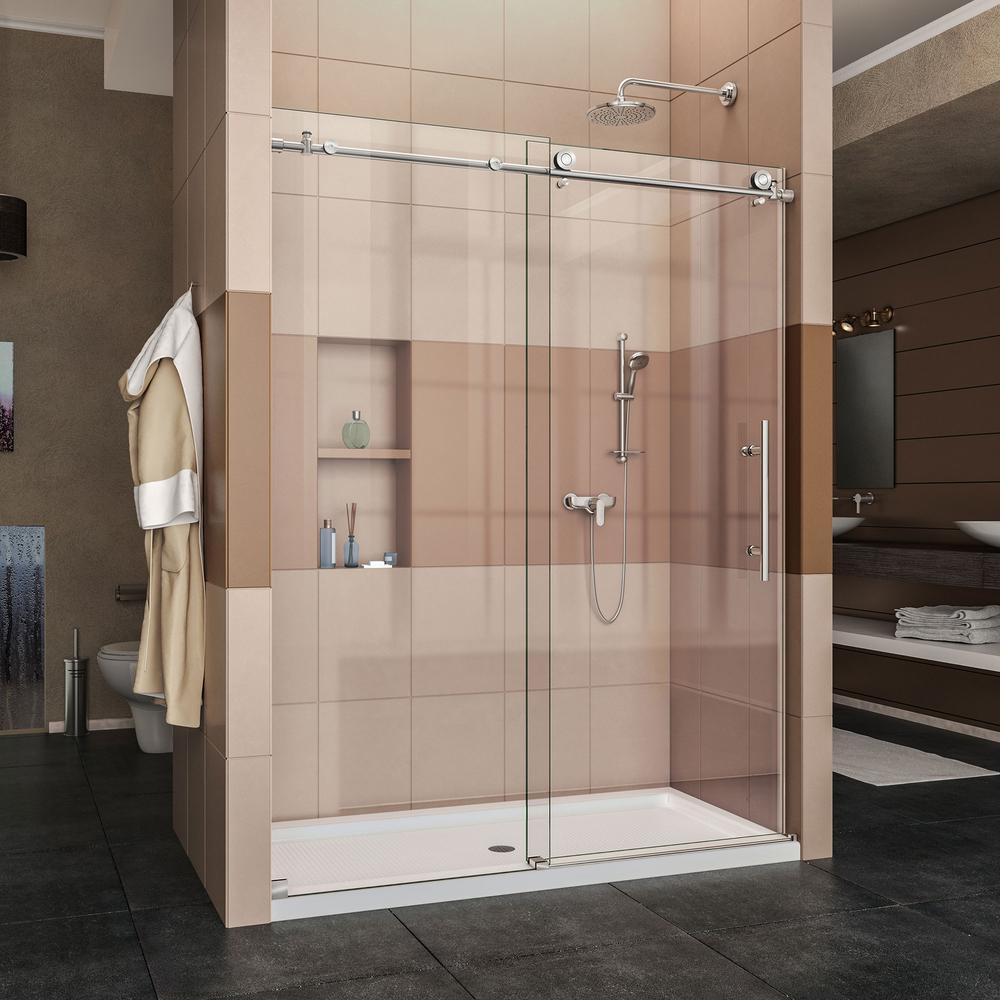 DreamLine Enigma-X 34 in. x 60 in. x 78.75 in. Frameless Sliding Shower Door in Polished Stainless Steel with Left Drain Base