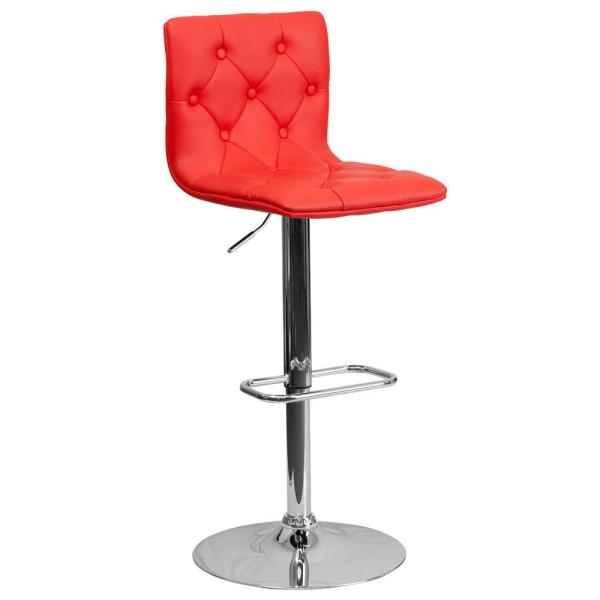 Flash Furniture 32.25 in. Adjustable Height Red Cushioned Bar Stool CH112080RED