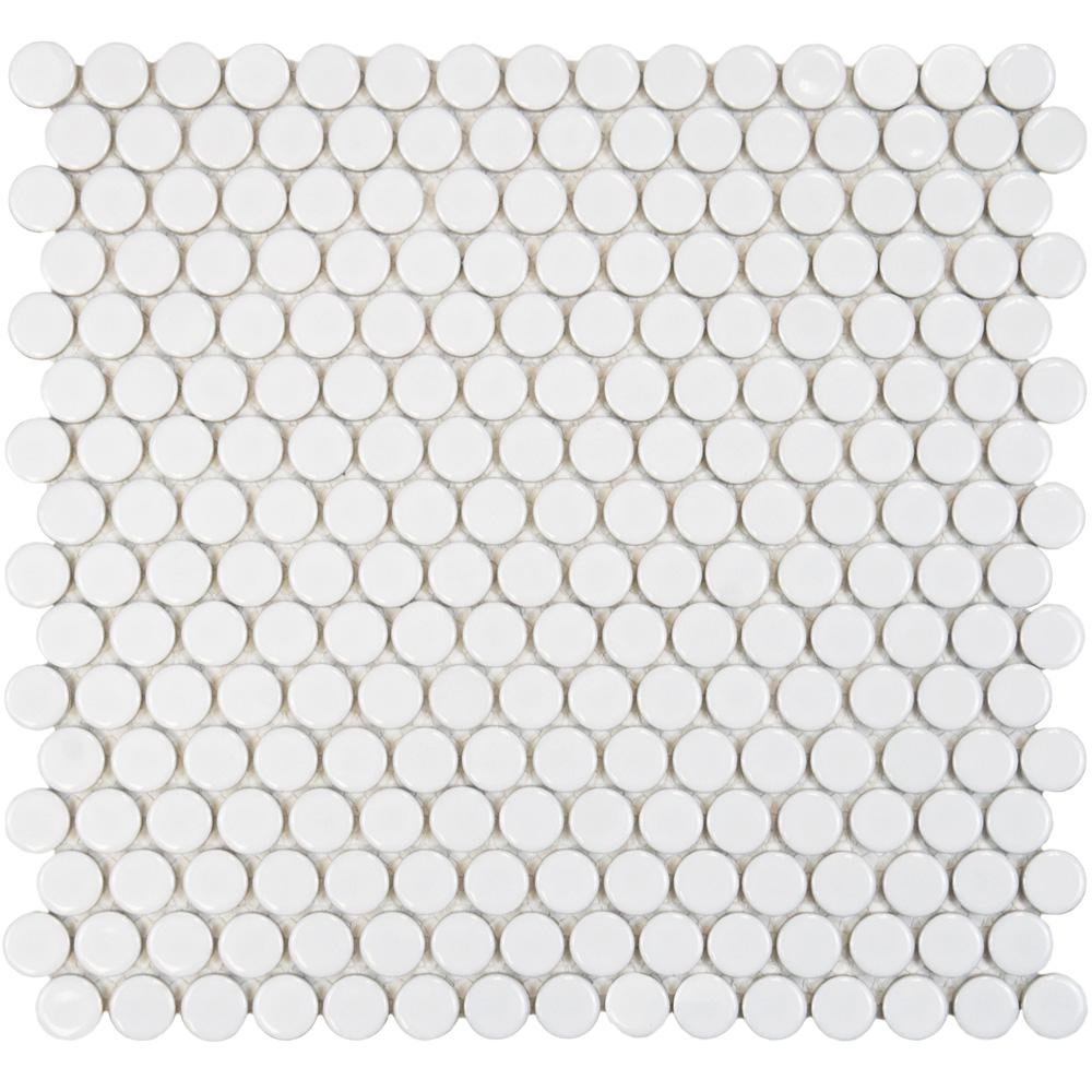 Merola Tile Hudson Penny Round Glossy White 12 in. x 12-5/8 in. x 5 mm Porcelain Mosaic Tile (10.74 sq. ft. / case)