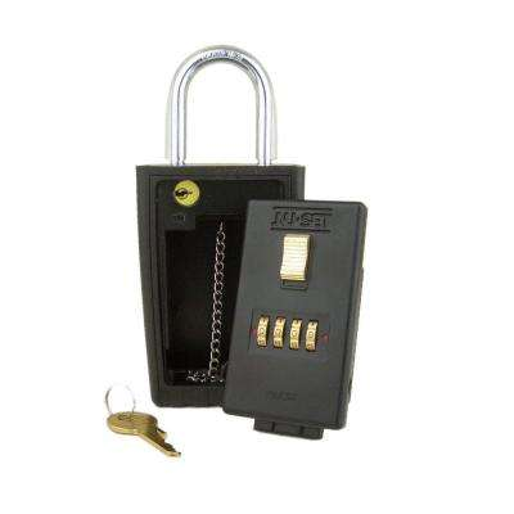 4-Number Combination Lockbox Key Storage Lock Box with Key-Locking Shackle