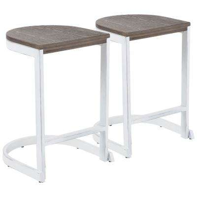 Industrial Demi 24 in. Vintage White and Espresso Counter Stool (Set of 2)