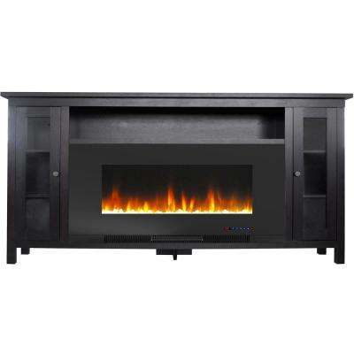 Somerset 70 in. Black Electric Fireplace TV Stand in Multi-Color with LED Flames Crystal Rock Display and Remote Control
