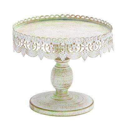 Decorative Traditional Style Metal Cake Stand-White