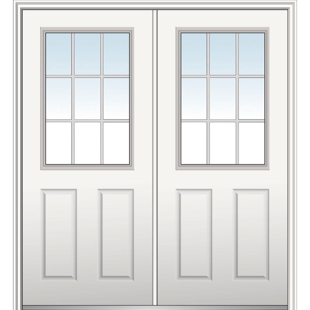 MMI Door 60 in. x 80 in. White Internal Grilles Left-Hand Inswing 1/2-Lite Clear Primed Fiberglass Smooth Prehung Front Door