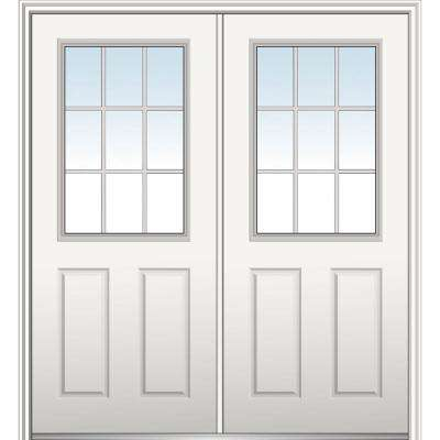 60 in. x 80 in. White Internal Grilles Left-Hand Inswing 1/2-Lite Clear Primed Fiberglass Smooth Prehung Front Door