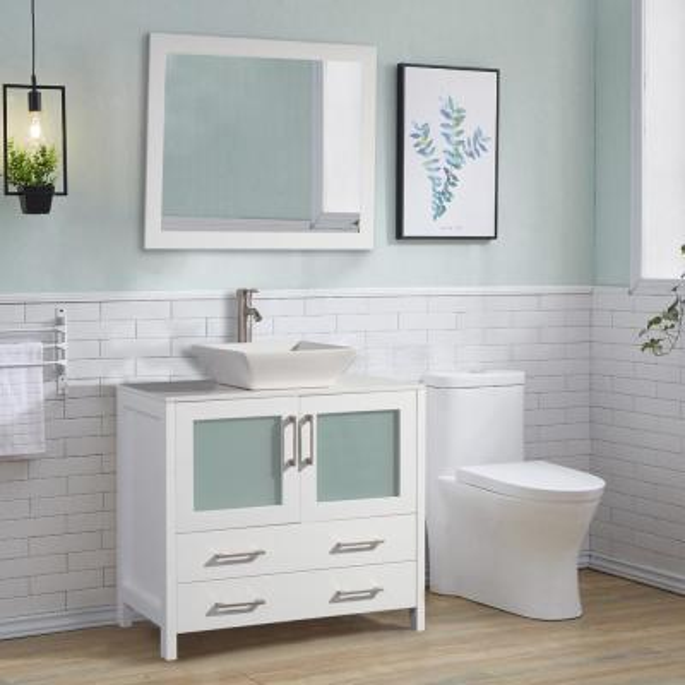 36 in. W x 18.5 in. D x 36 in. H Bathroom Vanity in White with Single Basin Vanity Top in White Ceramic and Mirror