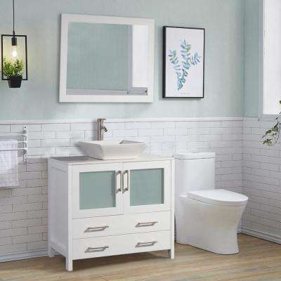 36 in. W x 18.5 in. D x 36 in. H Bathroom Vanity in White with Single Basin Vanity Top in White Ceramic and Mirror