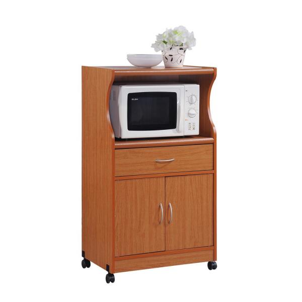 Hodedah 1-Drawer Cherry Microwave Cart
