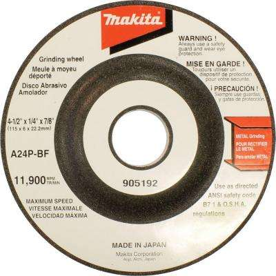4-1/2 in. x 7/8 in. x 1/4 in. 24-Grit General Purpose Metal Grinding Wheel