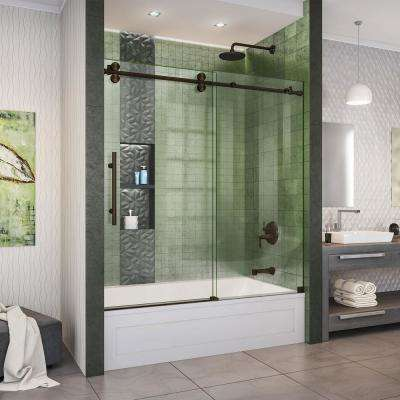 Enigma-XO 55-59 in. W x 62 in. H Fully Frameless Sliding Tub Door in Oil Rubbed Bronze