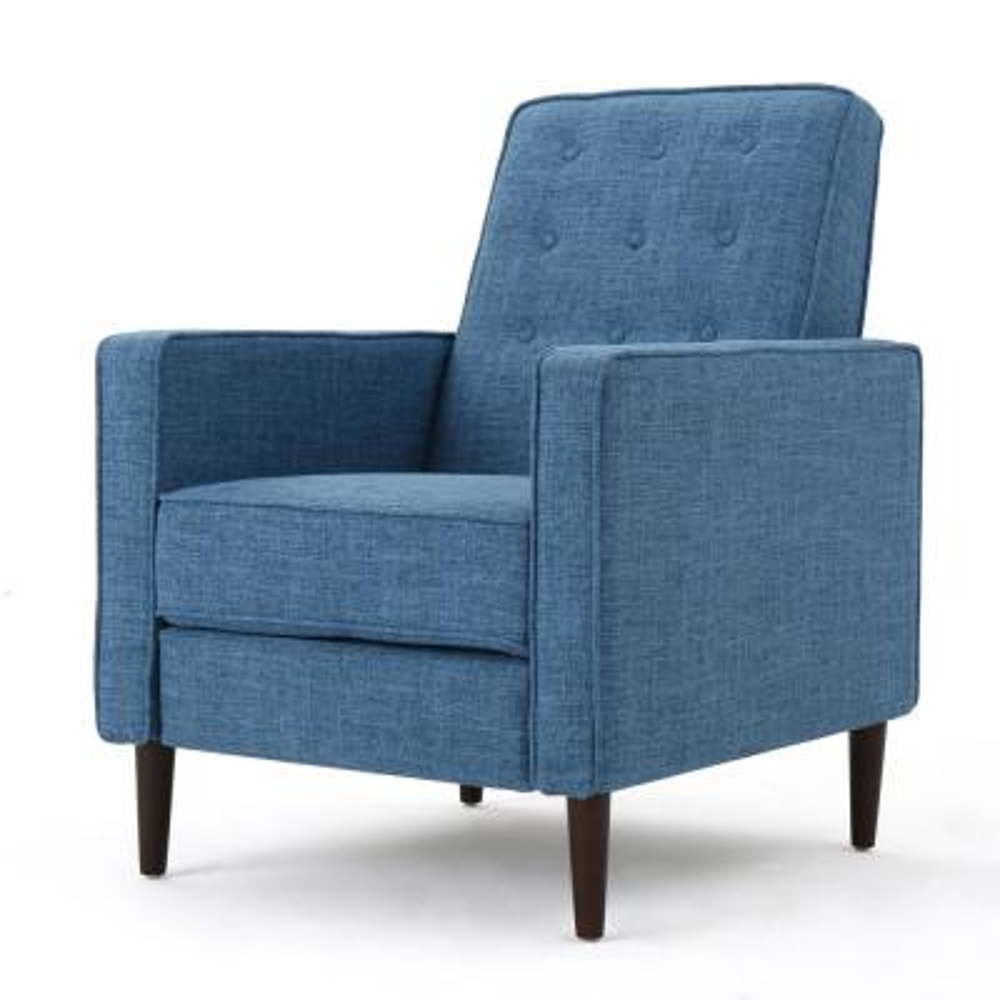 Deborah Muted Blue Fabric Mid Century Modern Recliner