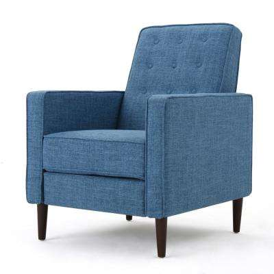 Deborah Muted Blue Fabric Mid Century Modern Recliner