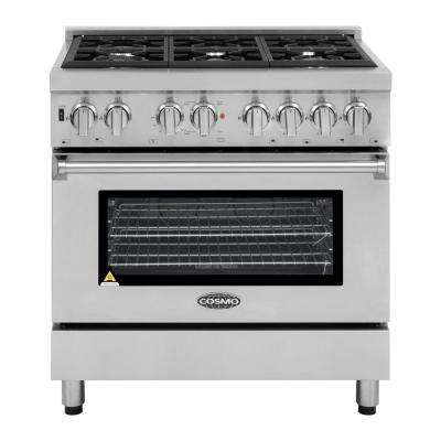 Commercial-Style 36 in. 4.5 cu. ft. Single Oven Dual Fuel Range with 6 Italian Burners and 4 Function Electric Oven