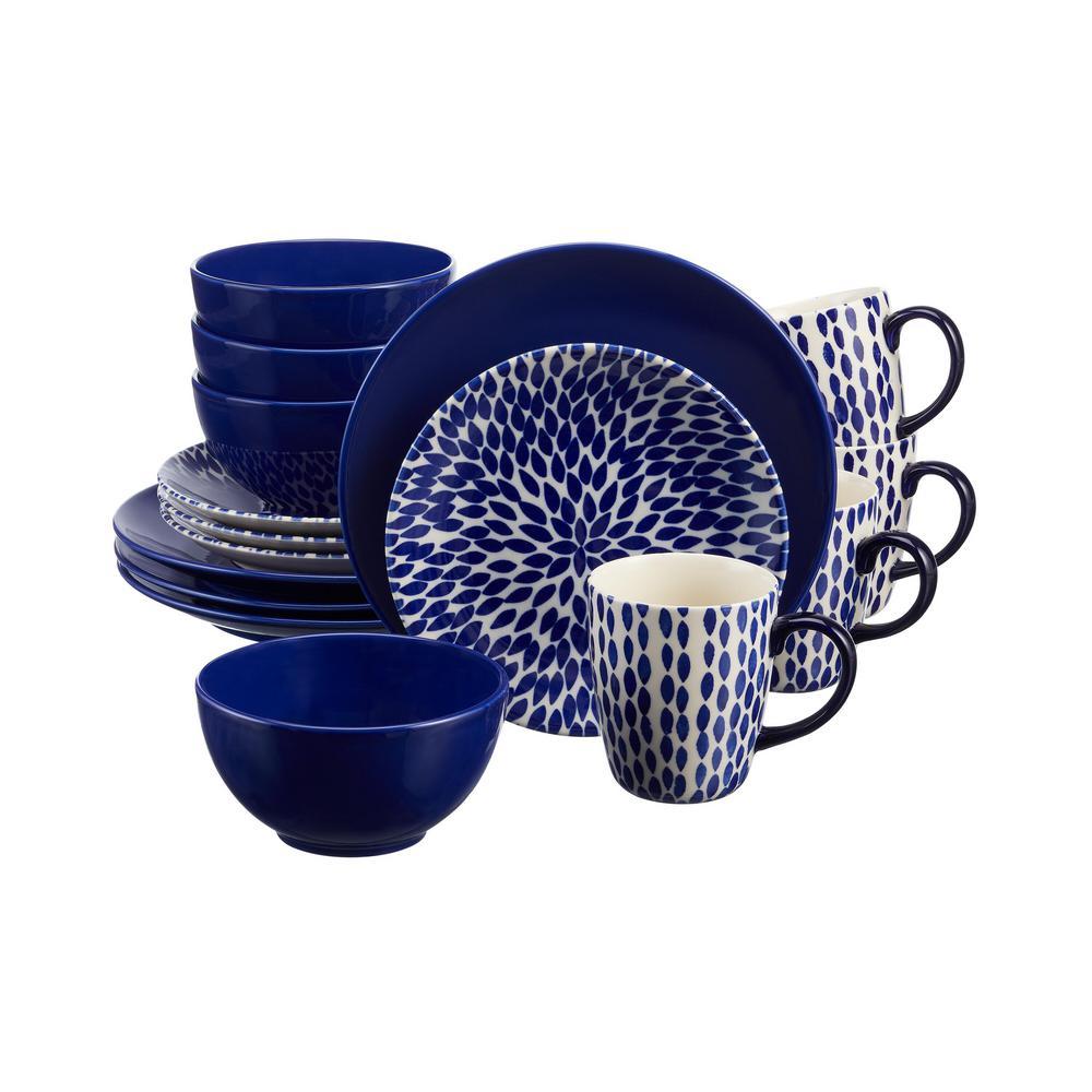 HomeDecoratorsCollection Home Decorators Collection Rosaline 16-Piece Hand-Decorated Twilight Blue Stoneware Dinnerware Set (Service for 4)