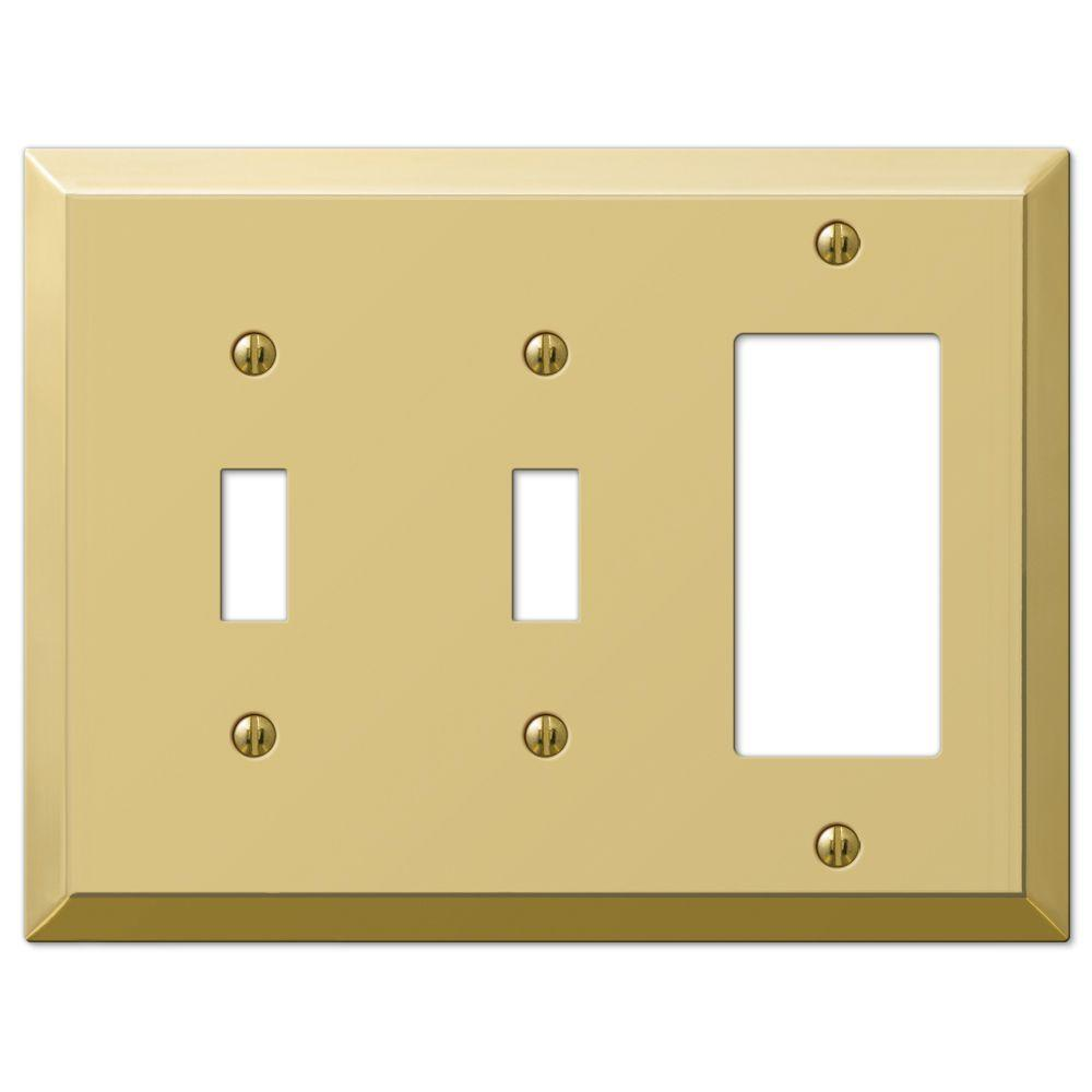 Hampton Bay Century 2 Toggle 1 Decorator Wall Plate - Polished Brass ...