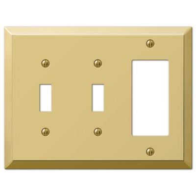 Metallic 3 Gang 2-Toggle and 1-Rocker Steel Wall Plate - Polished Brass