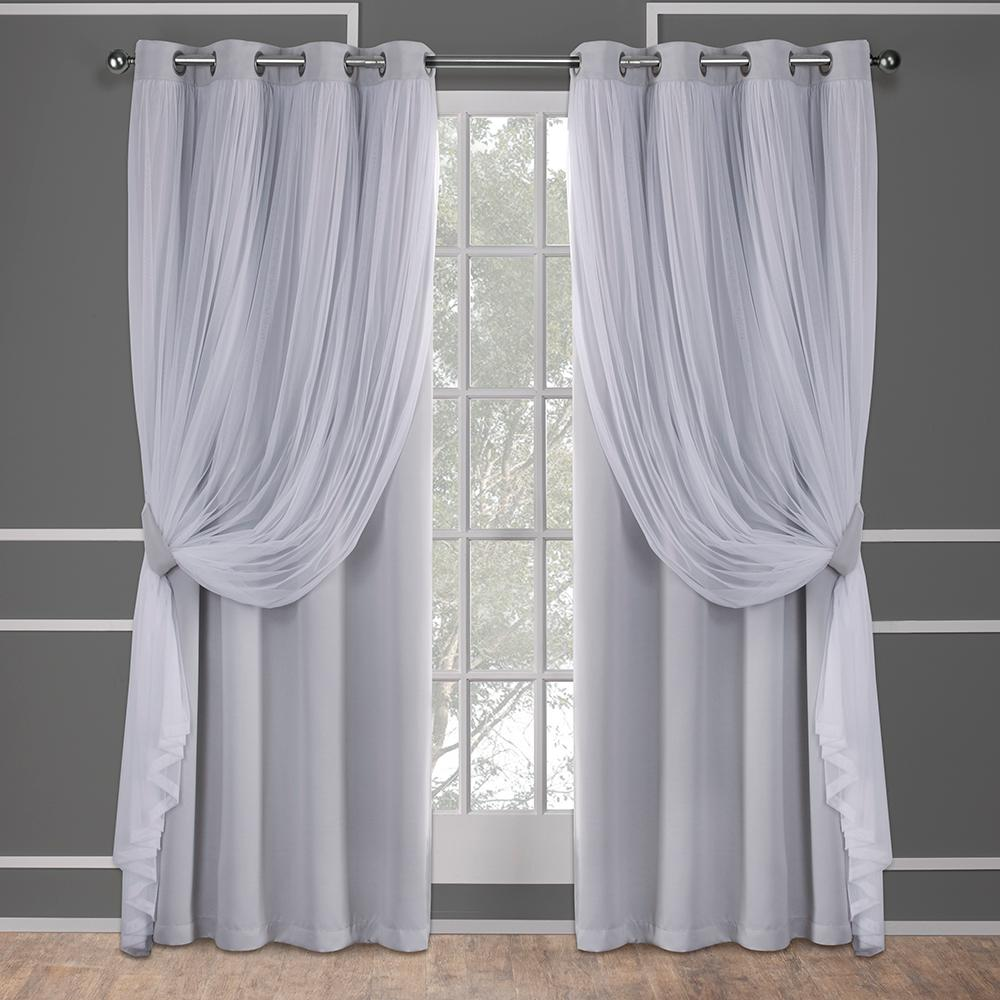 catarina cloud grey layered solid blackout and sheer grommet top window curtain eh8256 07 2 84g. Black Bedroom Furniture Sets. Home Design Ideas