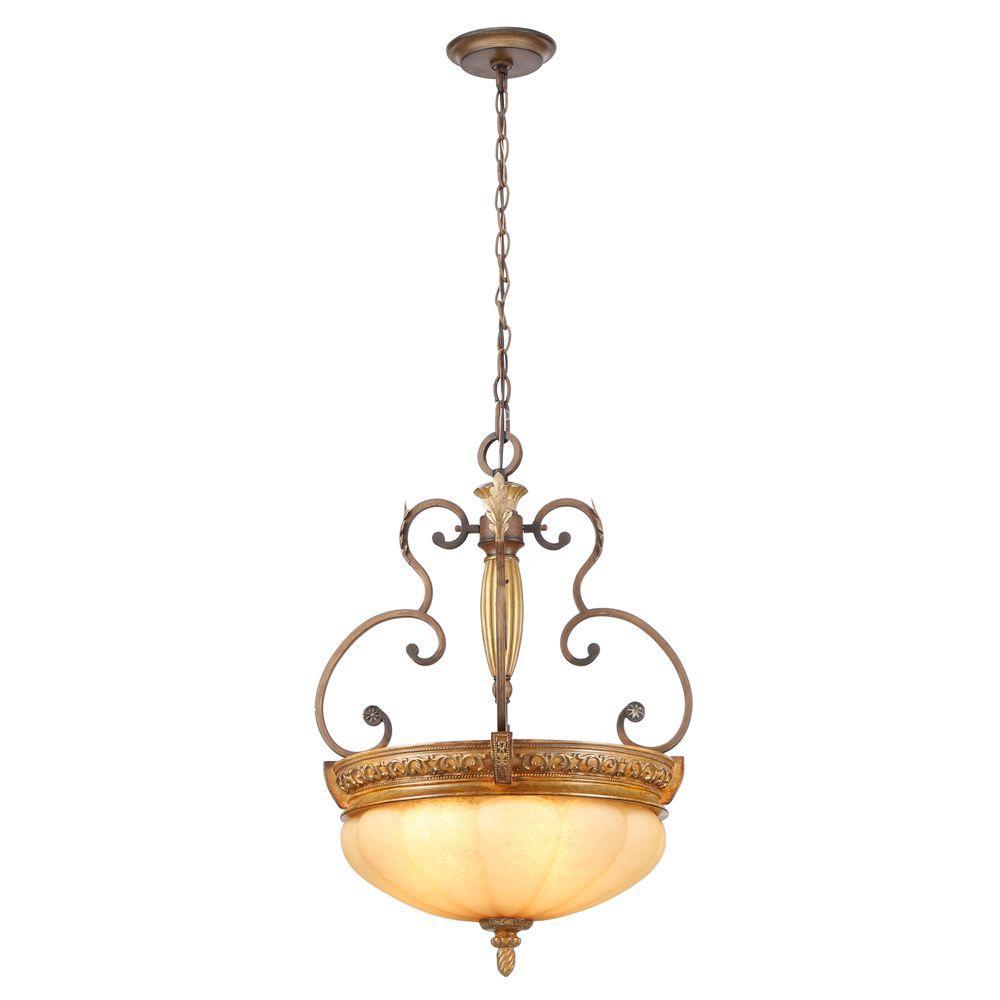 Chateau Deville 3-Light Walnut Bowl Pendant