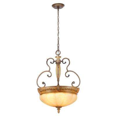 Chateau Deville 3-Light Walnut Bowl Pendant