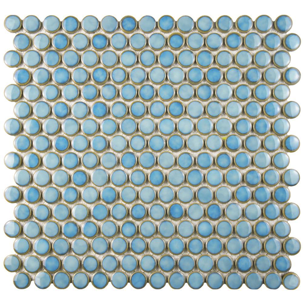 Merola Tile Hudson Penny Round Marine 12 In X 12 58 In X 5 Mm