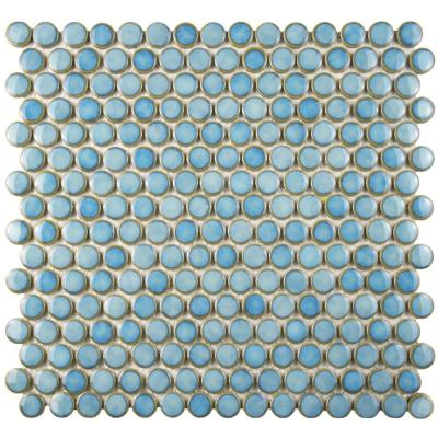 Hudson Penny Round Marine 12 in. x 12-5/8 in. x 5 mm Porcelain Mosaic Tile (10.74 sq. ft. / case)