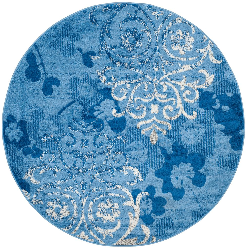 safavieh adirondack light blue dark blue 4 ft x 4 ft round area rug adr114f 4r the home depot. Black Bedroom Furniture Sets. Home Design Ideas