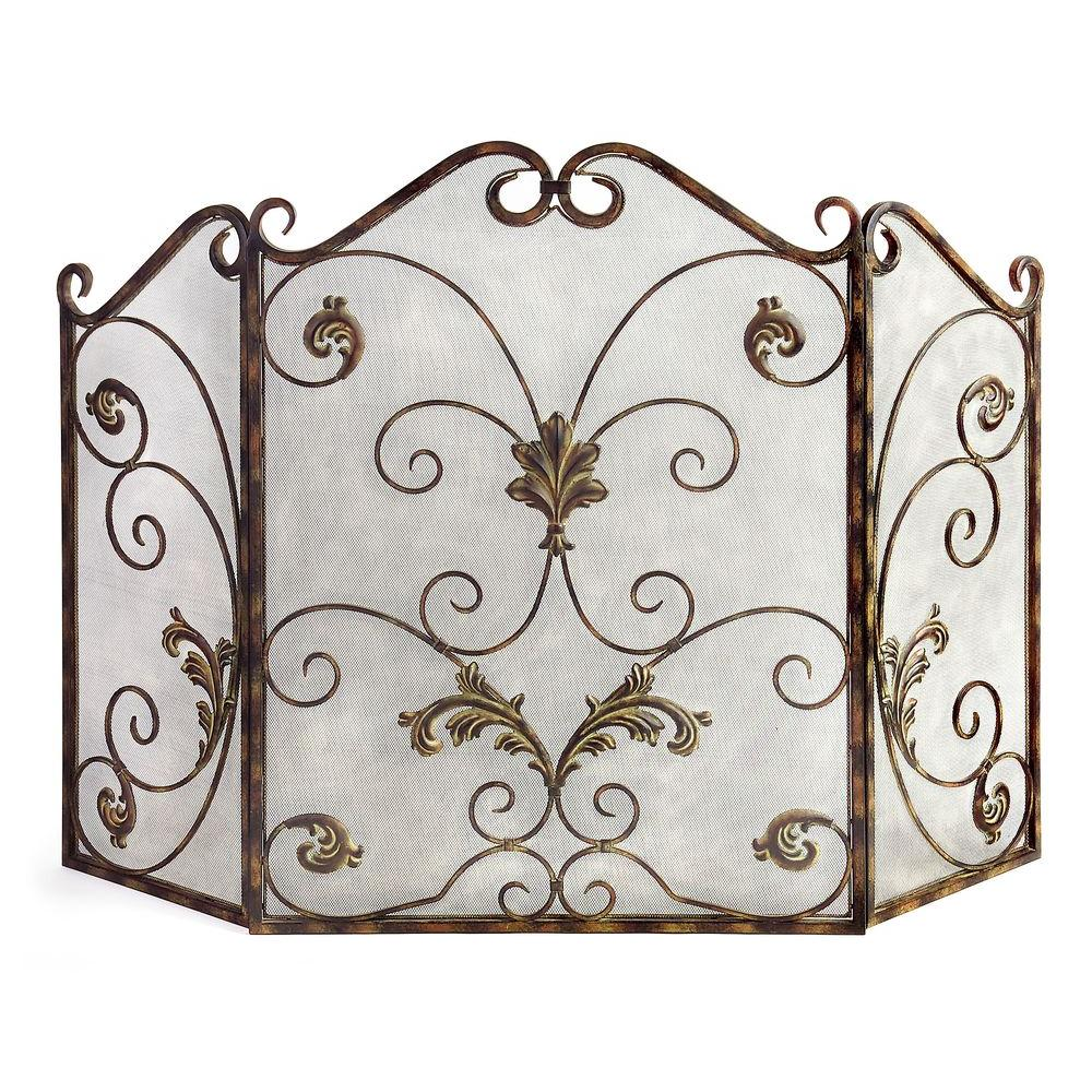 Filament Design Lenor 33.5 in. Bronze Wrought Iron Fireplace Screen