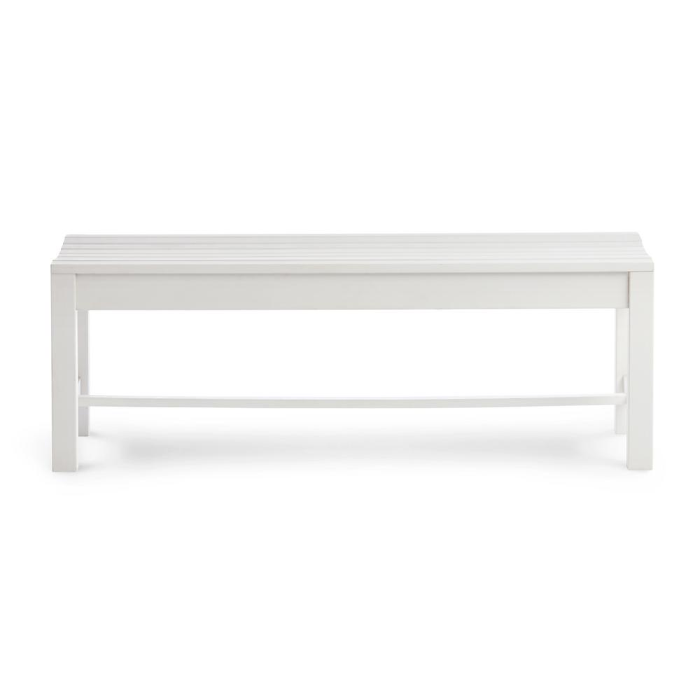 Shine Company 4 ft. Backless Recycled Plastic Outdoor Bench - White