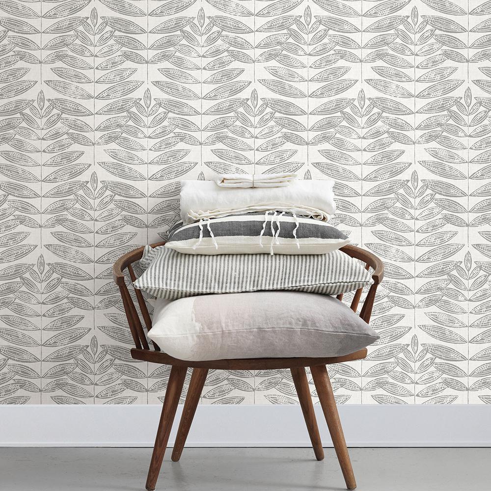 56.4 sq. ft. Akira Dove Leaf Wallpaper